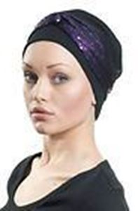 Picture of Hair World Anna Hat With Purple Sequin Wrap